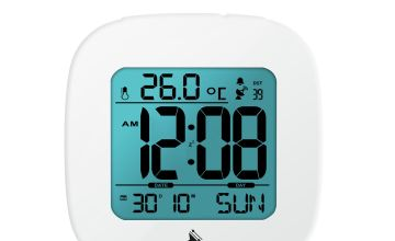 Precision Radio Controlled Digital Alarm Clock - White
