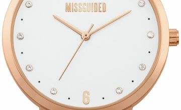 Missguided Black Faux Leather Strap Watch
