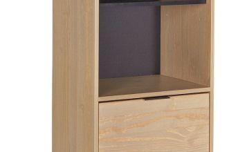 Argos Home Industrial Pine 2 Shelf 1 Drawer Bookcase-Natural