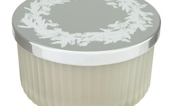 Argos Home Ribbed Glass Candle - Frosted Cedar