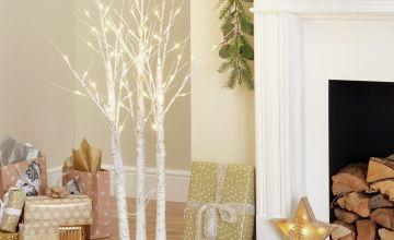 Argos Home Cluster of 3 Pre-Lit LED Trees - White