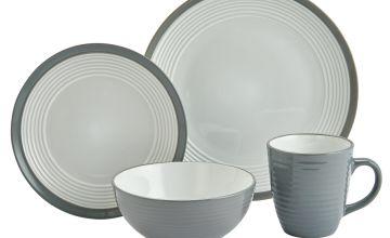 Argos Home 16 Piece Ribbed Stoneware Dinner Set - Grey