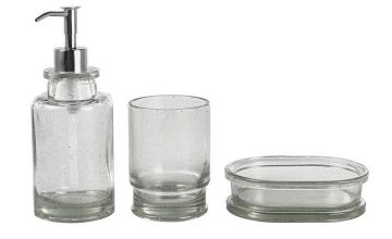 Argos Home Bubble Glass Bathroom Accessory Set - Grey