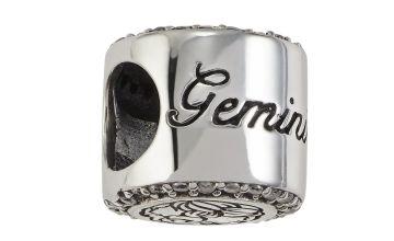 Moon & Back Sterling Silver Zodiac Charm - Gemini