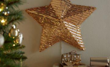 Argos Home Gold Sequin Wall Mounted Star Light
