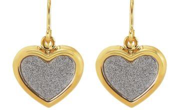 Revere 9ct Gold Plated Silver Glitter Heart Drop Earrings