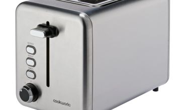 Cookworks 2 Slice Toaster - Brushed Stainless Steel