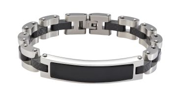 Revere Men's Stainless Steel Bracelet with Black ID Tag