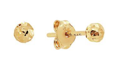 Revere 9ct Gold Diamond Cut Ball Stud Earrings