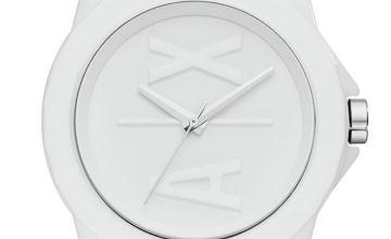 Armani Exchange Ladies White Silicone Strap Watch