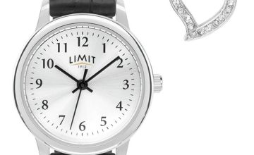 Limit Ladies Black Faux Leather Strap Watch & Heart Pendant