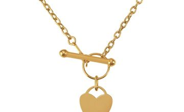 Revere 9ct Gold Mini Heart T-Bar 16inch Necklace