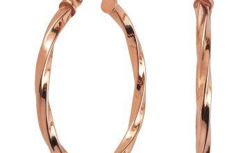 Revere 9ct Rose Gold Twisted Hoop Earrings