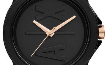 Armani Exchange Ladies Black Silicone Strap Watch
