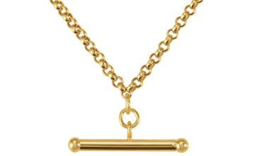 Revere 9ct Gold Belcher T-Bar Necklace