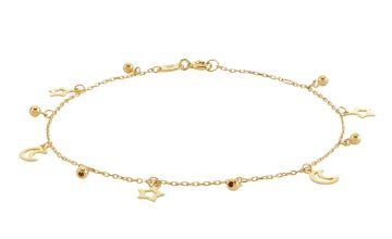 Revere 9ct Gold Plated Sterling Silver Moon & Star Bracelet