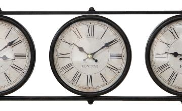 Hometime Metal Wall Clock with 3 Time Zones - Black