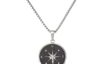 Revere Crystal Set Compass Pendant Stainless Steel Necklace