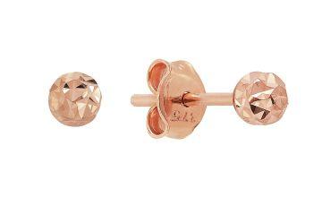 Revere 9ct Rose Gold Diamond Cut Ball Stud Earrings