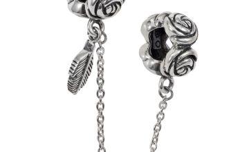 Moon & Back Sterling Silver Roses Charm Bracelet