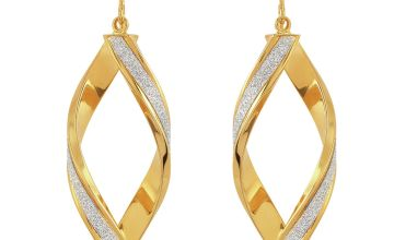 Revere 9ct Gold Plated Silver Glitter Twist Drop Earrings