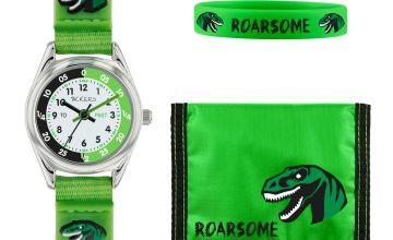 Tikkers Green Dinosaur Fabric Strap Watch