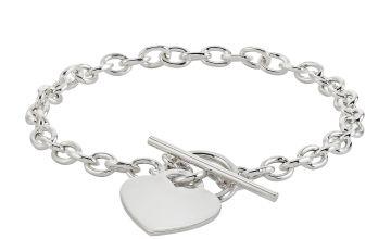 Revere Sterling Silver Classic Heart T-Bar Bracelet