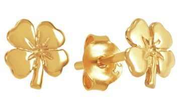 Revere 9ct Gold Plated Four Leaf Clover Stud Earrings
