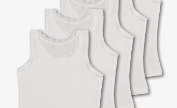 White Wide Strap Vests 5 Pack