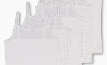 White Glitter Cami Vests 5 Pack