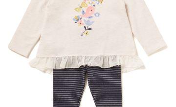 Multicoloured Bird Tee and Leggings Set - Newborn