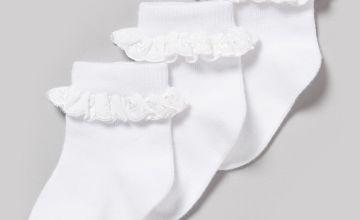 White Frill Socks 3 Pack