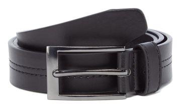 Black Faux Leather Centre Stitch Belt