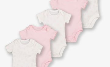 Pink & White Floral Bodysuit 5 Pack