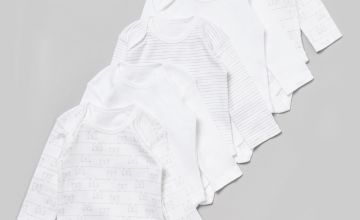 White Printed Long Sleeve Bodysuits 5 Pack