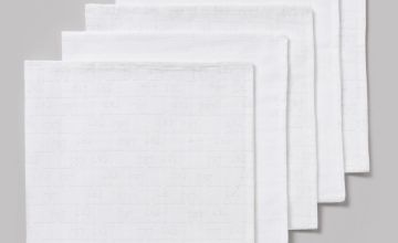 White & Teddy Bear Muslin Squares 5 Pack - One Size