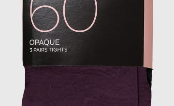 Green, Black & Purple 60 Denier Opaque Tights 3 Pack