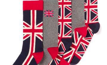 Multicoloured Union Jack Stay Fresh Socks 5 Pack