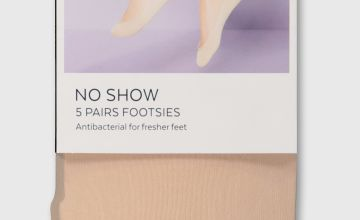 Latte Nude No Show Footsies 5 Pack - One Size