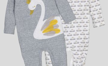 Grey Swan Print Sleepsuits 2 Pack