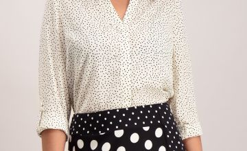 Polka Dot Roll Sleeve Shirt