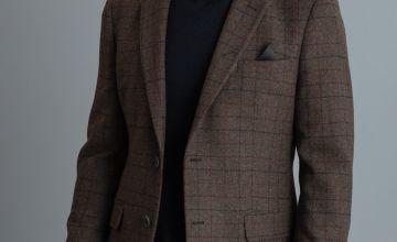 Brown Checked Tailored Fit Blazer With Wool