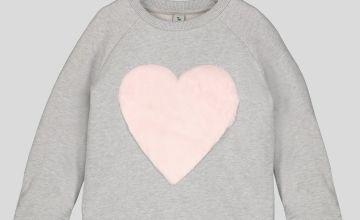 Grey Sweatshirt With Faux Heart Detail