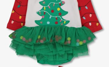 Multicoloured Christmas Tree Tutu Bodysuit With Tights
