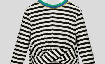 Black Stripe Twist Top - 14 years