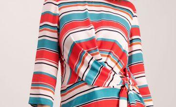 Multicoloured Tie Waist Blouse