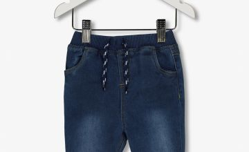 Blue Denim Rib Waist Jeans