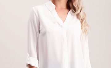 PETITE Online Exclusive Cream Roll Sleeve Blouse - 24