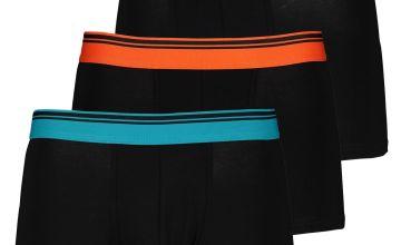 Black Hipster Briefs Coloured Waistbands 3 Pack