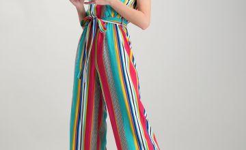 Multicoloured Stripe Wrap Front Jumpsuit